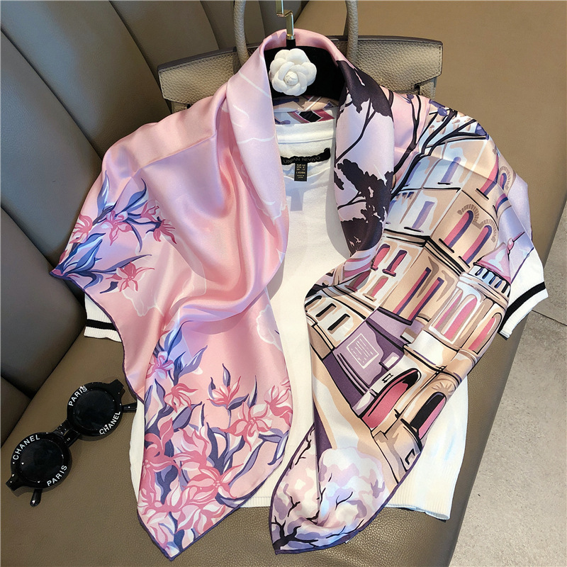 Fashion Twill Silk Scarves For Women Printed Kerchief Hijab Scarf Female 90*90cm Square Shawls And Wraps Neck Scarfs For Ladies