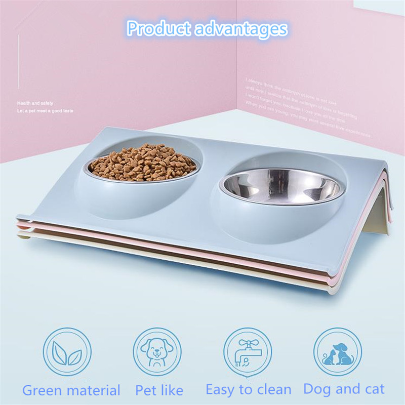 Double Dog Cat Bowls Stainless Steel Pet Food Water Feeder For Dog Puppy Cats Pets Supplies Feeding Dishes New image