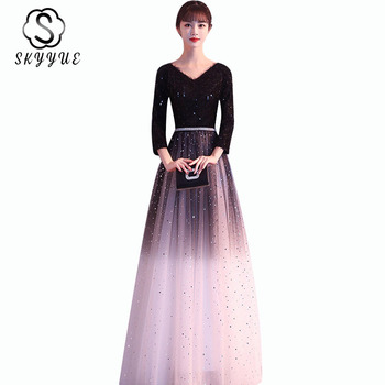 Evening Gowns For Women Skyyue ER484 Gradient Black V-neck Evening Dresses Elegant Three Quarter Sleeve A Line Robe De Soiree