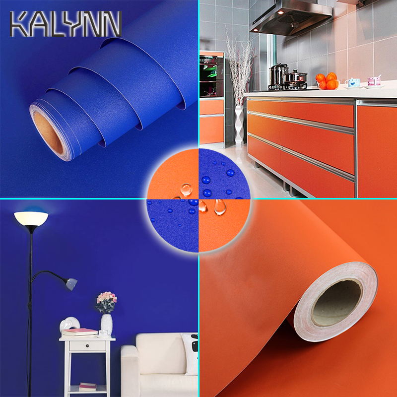 2020 Blue Self-Adhesive Wallpaper For Living Room Kitchen Furniture Decoration Wall Stickers Width 60cm Orange PVC Contact Paper