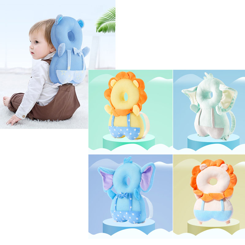 New Toddler Baby Head Protector Pillow Cartoon Elephant Plush Toys Breathable Baby Head Protection Cushion for Learning Walk Sit