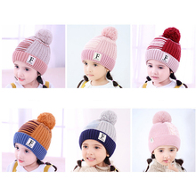 Knit Cartoon Letter Baby Hat In Girls  Hats Warm Winter With Pom Poms Bonnet Beanies Double Side Caps