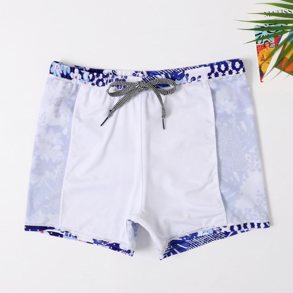 Новые плавки для маленьких мальчиков пляжные шорты для папы и меня Семейные пляжные шорты спортивный купальник Короткие штаны с цветочным рисунком