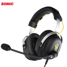 Somic G936PRO Stereo Gaming Headset 7.1 Virtual Surround Game Earphone Headphone with Mic LED Light for PC Computer Laptop Gamer