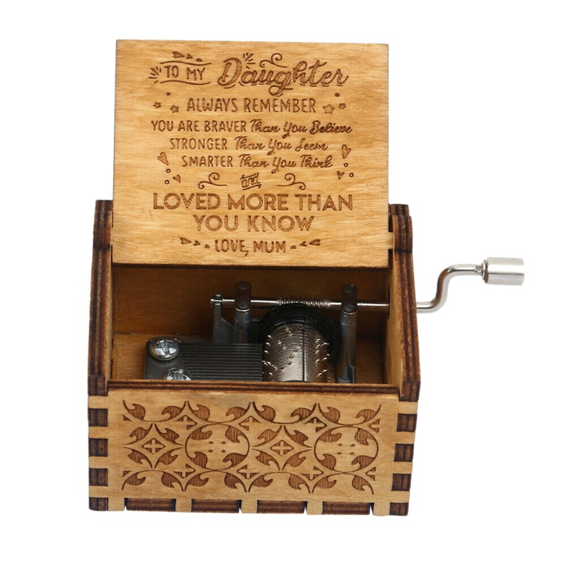 Wooden Music Box Mom To Daughter -You Are My Sunshine Engraved Christmas Gift Hand-Cranked Wooden Music Box Sunlight Crafts