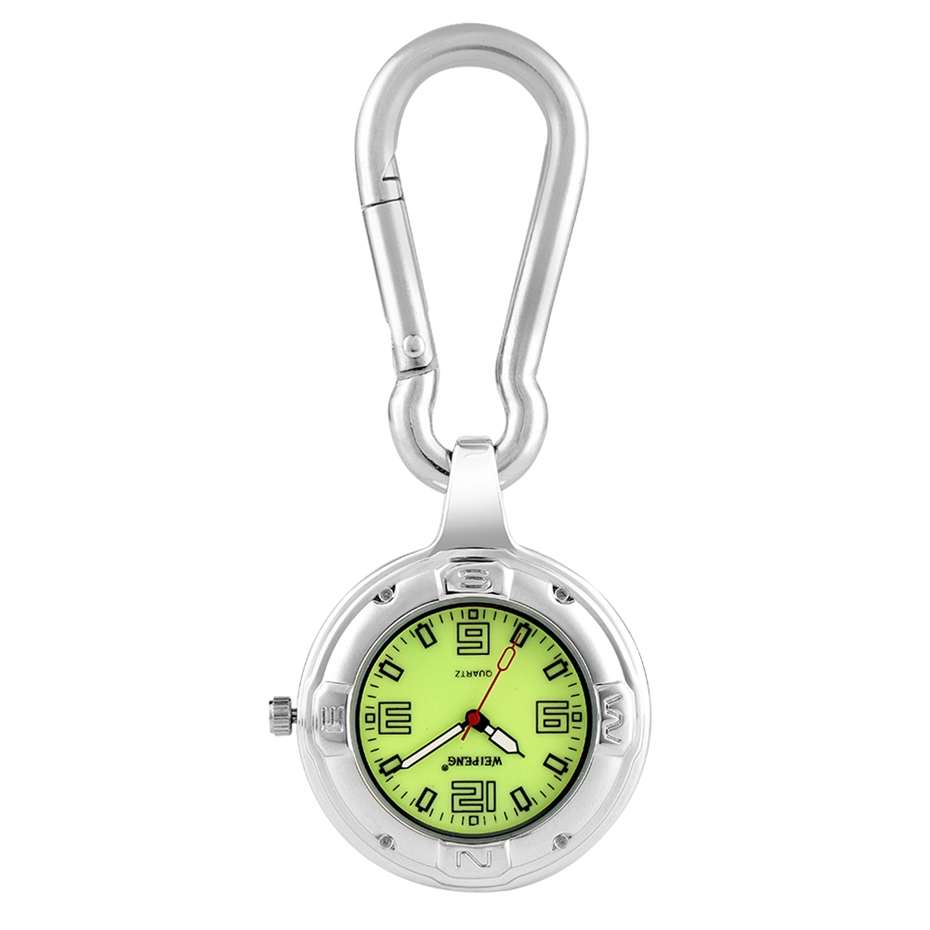 Luminous Watch Senior Professional Medical Dial Clip Carabiner Hook Quartz Pocket Watches For Men Women Noctilucent Fluorescent