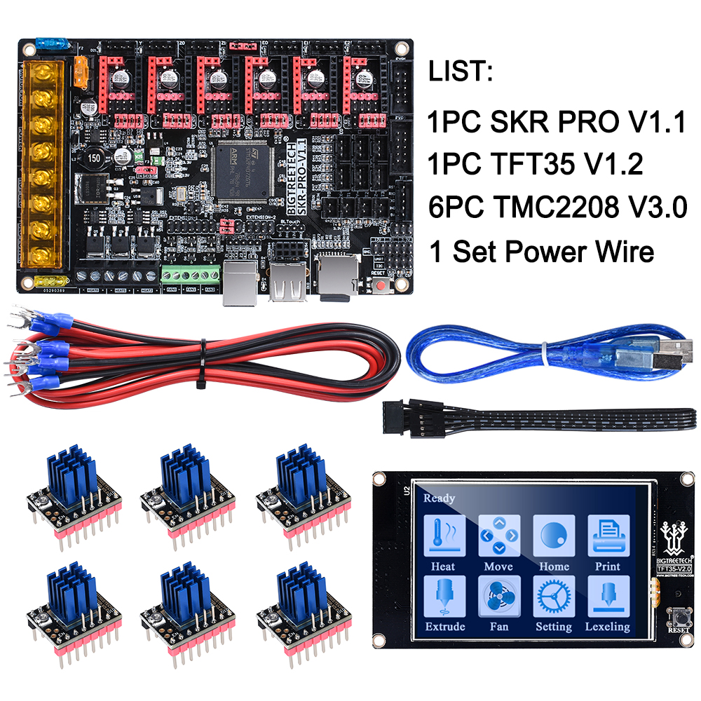 BIGTREETECH SKR PRO V1.1 32Bit Control Board+TFT35 Touch Screen+TMC2130 SPI TMC2208 TMC2209 3D Printer Parts Vs V1.3 MKS GEN L
