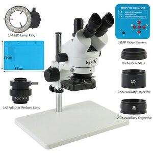Image 1 - 38MP 2 18k usb hdmiデジタルビデオカメラ3.5X 90Xサイマル 焦点三眼実体顕微鏡電話はんだpcb修復ツール