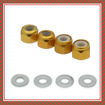 RCAWD Wheel Lock Nut With Gasket 4PCS Alloy For RC Model Car 1/14 LC Racing Full Series Hopup Parts image