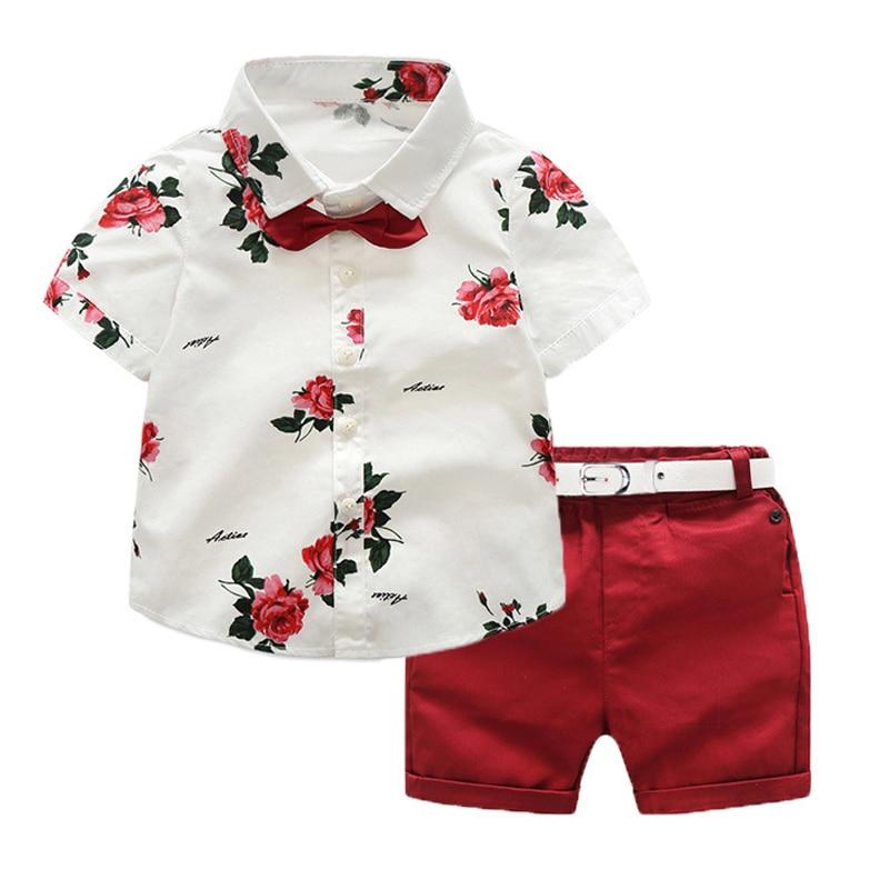 Shorts-Set Shirt Floral-Printing Kids Children Summer Boy with Belt for New-Design