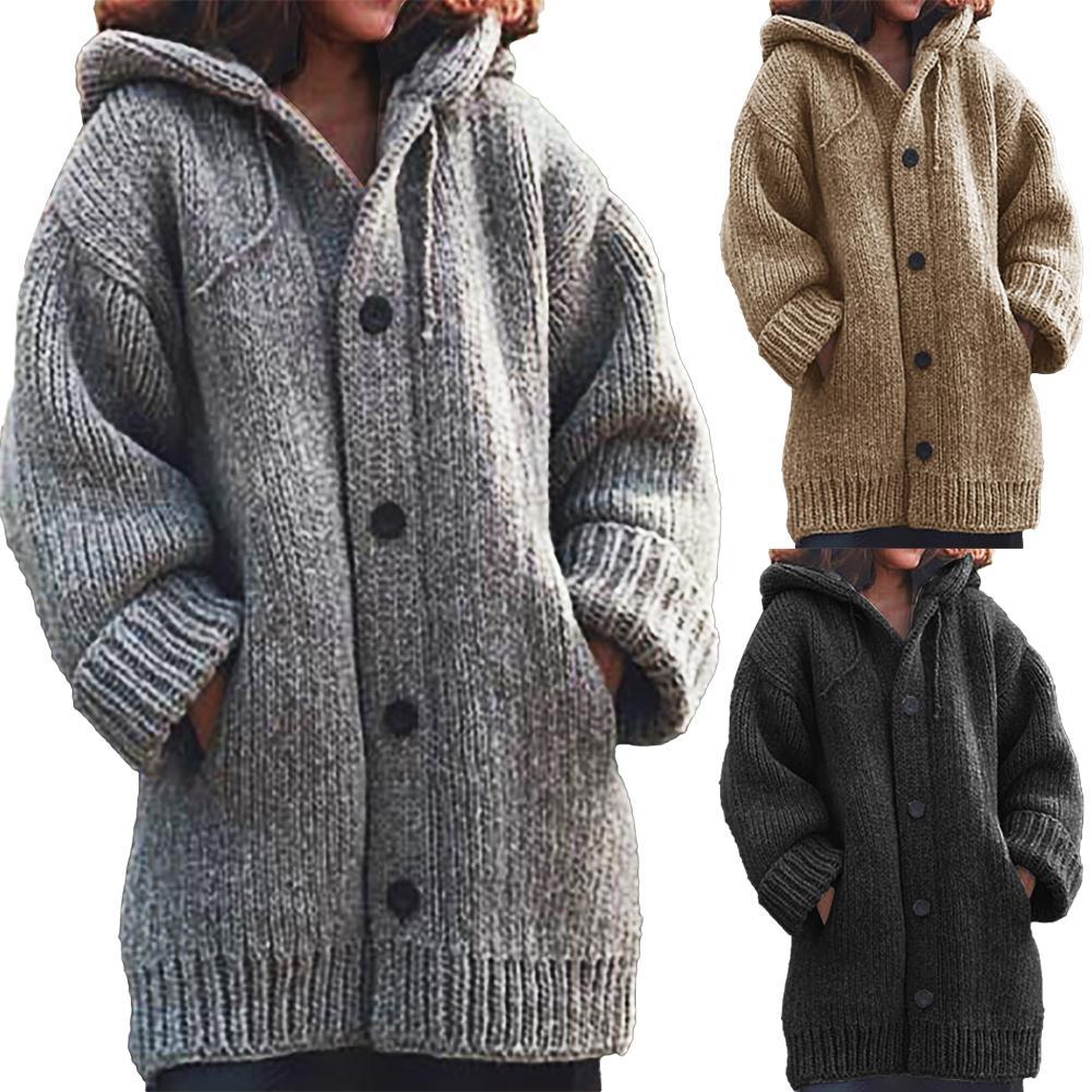 Fashion Autumn Winter Hooded Sweater Women Long Sleeve Knitting Cardigan Sweaters Female Warm Cardigan Pull Femme Jersey Mujer