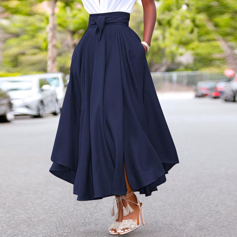 High Waist A-line Skirt ZANZEA Women Skirts Summer Vintage Zipper Long Maxi Skirts Solid Irregular Beach Skirt Faldas Saia S-5XL