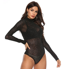 Women Lace Bodysuit Sexy Leopard Body Black Bodycon Top Long Sleeve Mesh Club Lady Turtleneck Bodysuits Romper