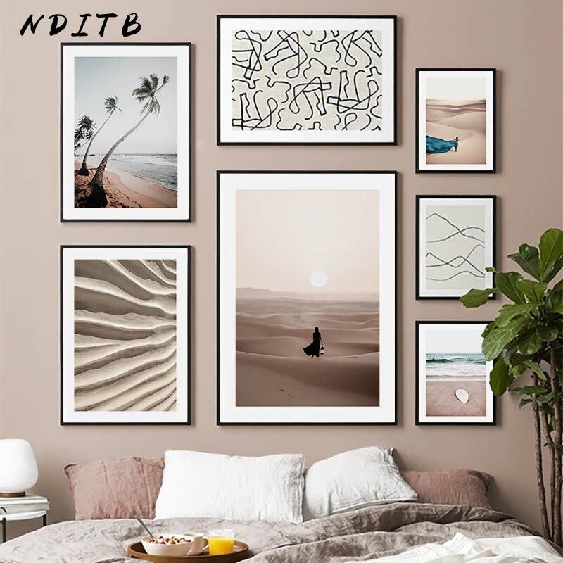 İskandinav çöl soyut doğa manzara resim tuval Poster Nordic duvar sanat baskı çizgi çizim resim ev dekorasyon