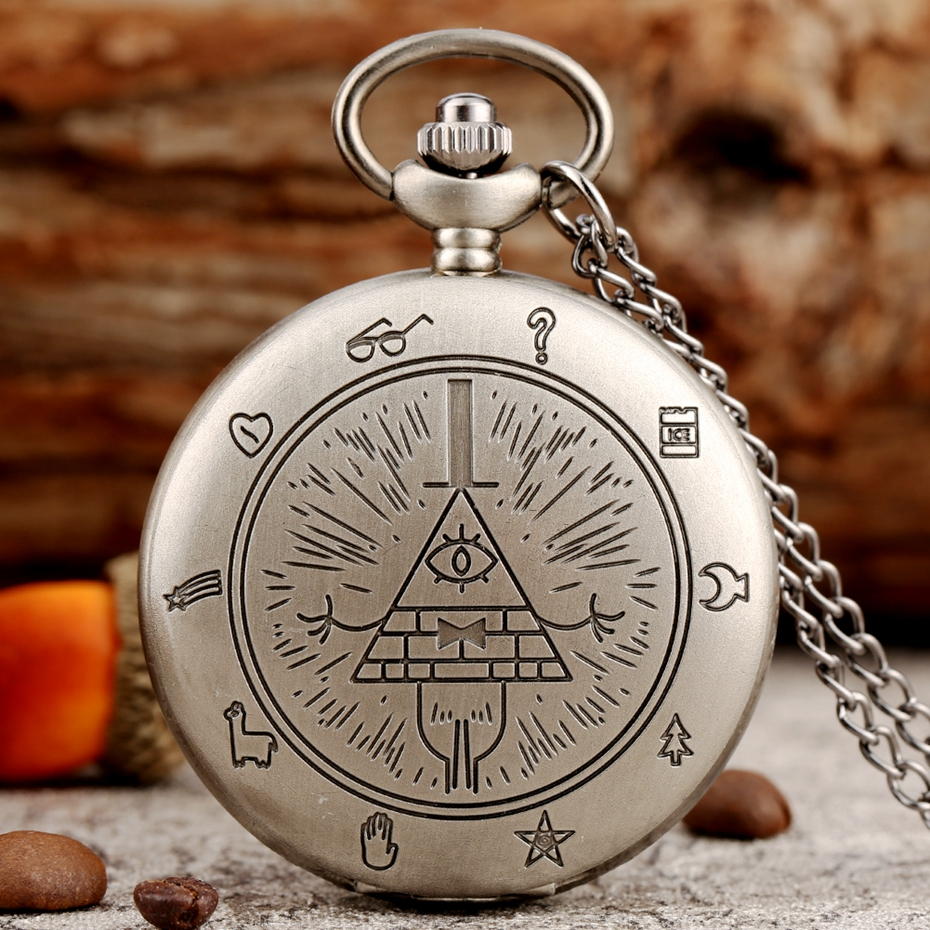 Gravity Bill Cipher Time Gem Necklace Quartz Pocket Watch Weird Town Triangle One-Eyed Devil Pendant Chain For Men Women