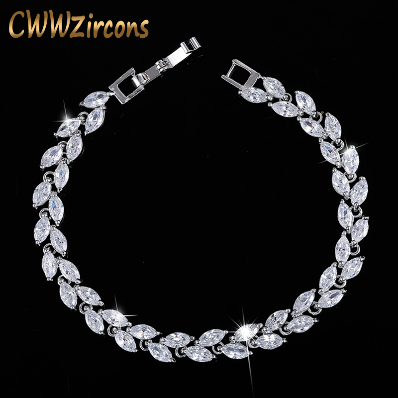 CWWZircons New Trendy 2019 Cubic Zirconia Jewelry Silver Color Leaf Charm CZ Crystal Female Bracelets Bangles for Women CB060