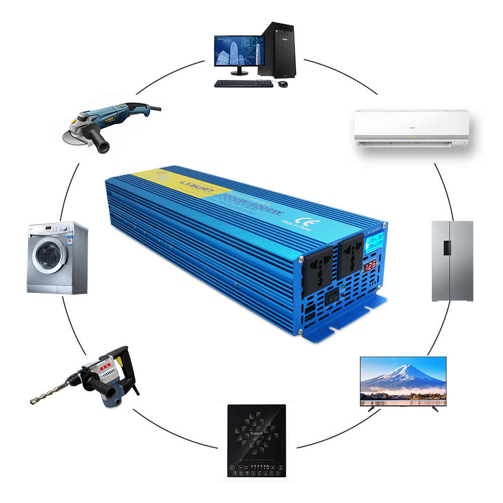 Cyfrowy wyświetlacz 6000W szczytowa czysta fala sinusoidalna przetwornica napięcia DC 12 V/24 V do AC 220V 230V 240 V/110 V konwerter zasilanie energią słoneczną