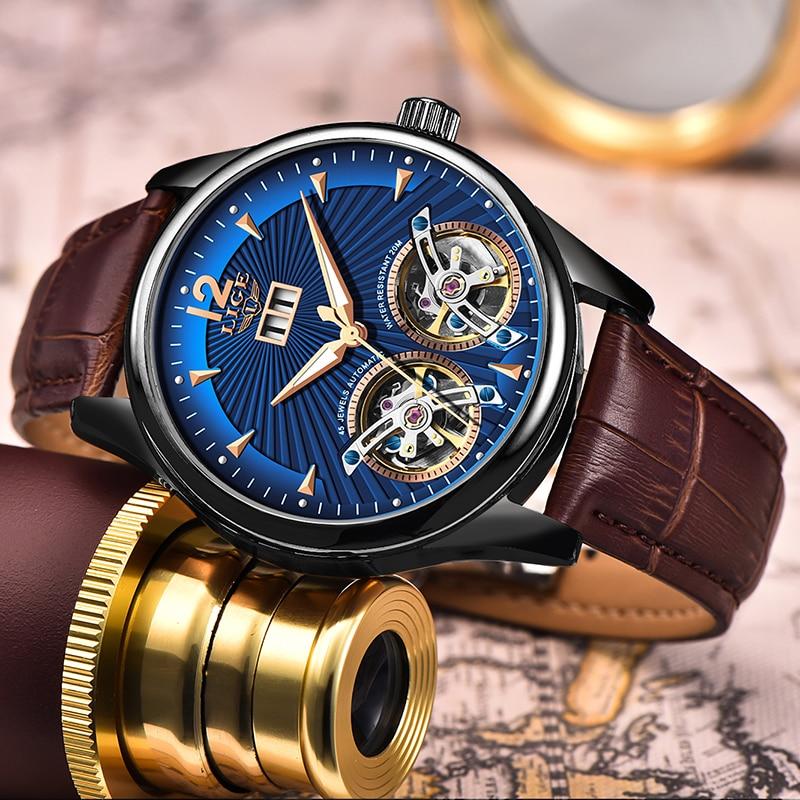 2020 LIGE Brand Mens Watches Automatic Mechanical Watch Tourbillon Clock Casual Leather Business Retro Wristwatch Relojes Hombre