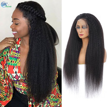 250 Density Lace Wig 13X4 Kinky Straight Hd Transparent Lace Wig Pre Plucked Human Hair Peruvian Wig Bleached Knot With Baby Hai