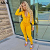 Kliou autumn two piece set women long sleeve hooded zipper pocket sporty Jackets+leggings matching sets workout stretchy outfits 5