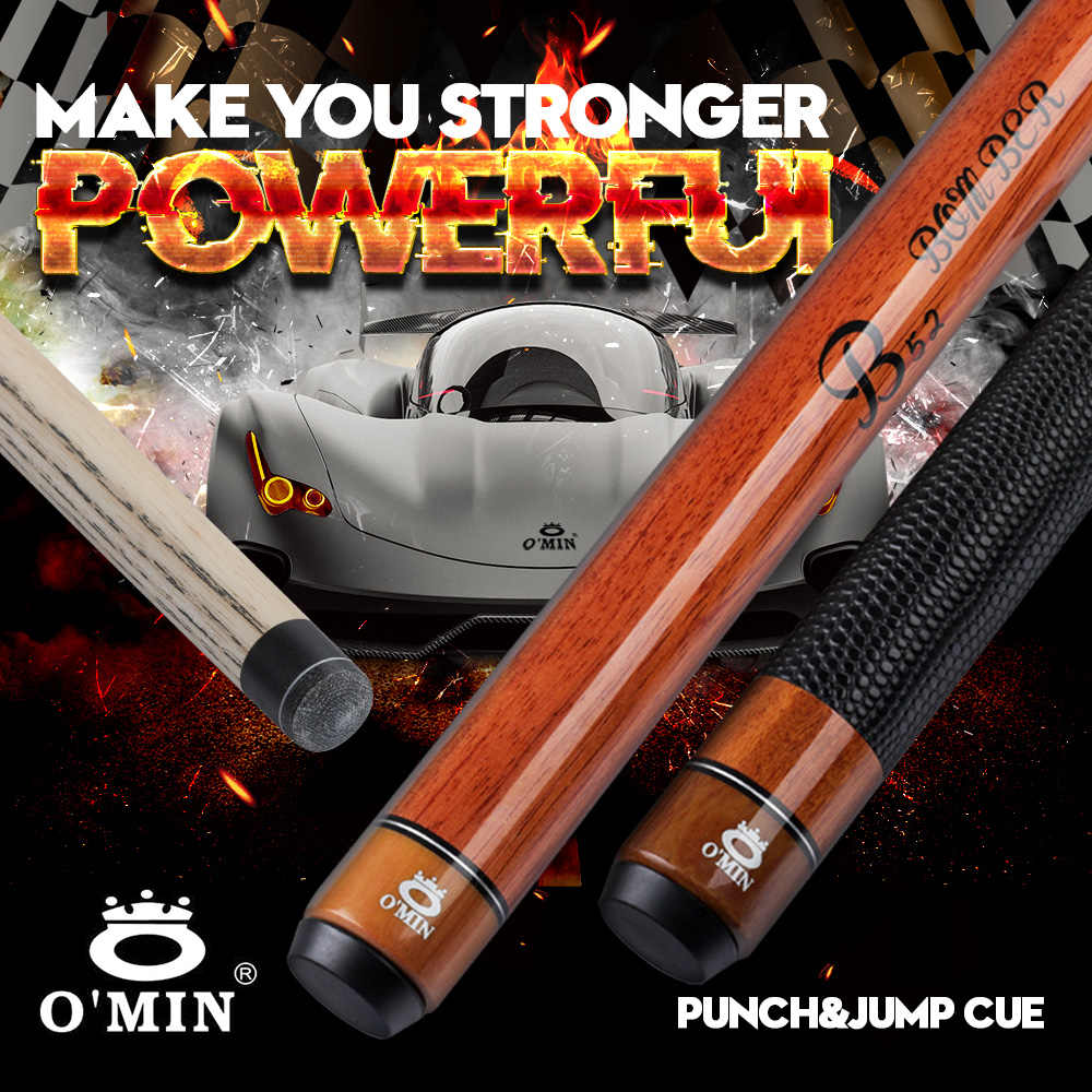OMIN Break Punch Cue kij bilardowy 14 MM końcówka 142cm popiół z litego drewna uchwyt skórzany przerwa skok Cue potężny ręcznie Billar Kit
