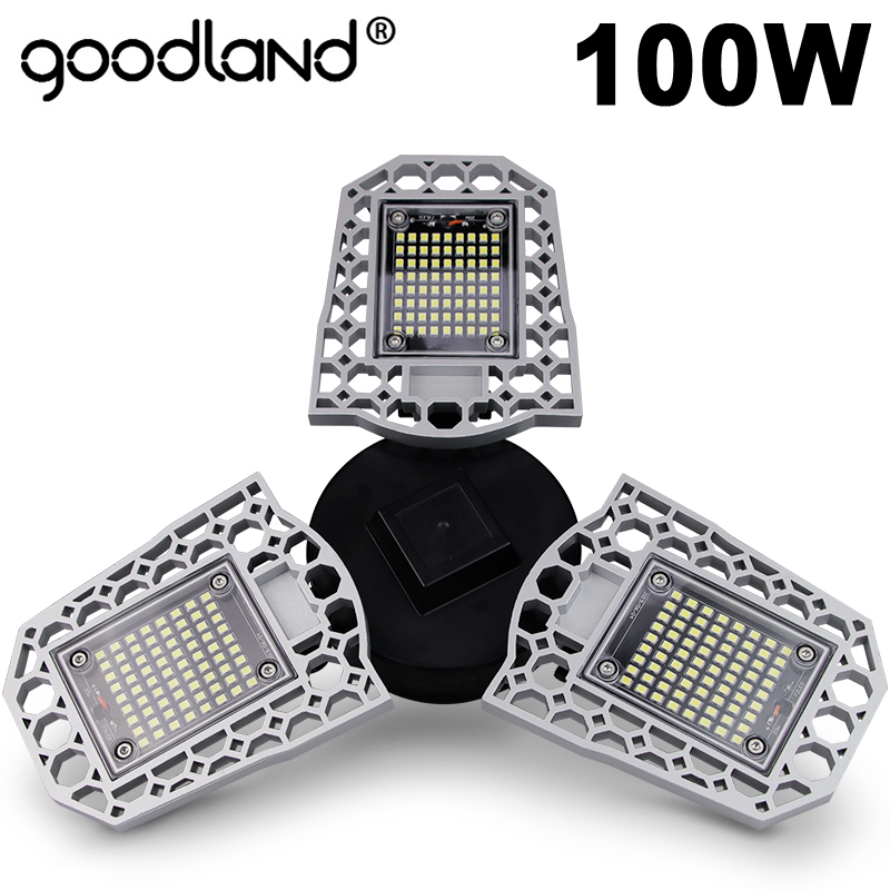 Goodland LED โคมไฟ E27 หลอดไฟ LED 60W 80W 100W โรงรถ 110V 220V Deform LIGHT สำหรับคลังสินค้าการประชุมเชิงปฏิบัติการโรงงาน GYM