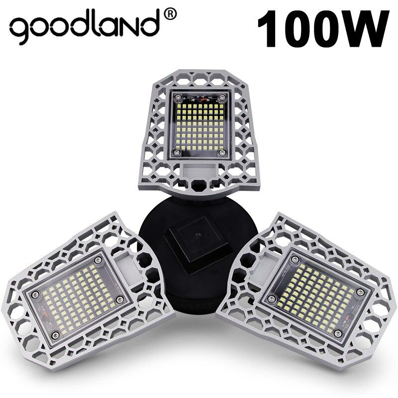 Goodland LED Lamp E27 LED Bulb 60W 80W 100W Garage Light 110V 220V Deform Smart Light Sensor For Workshop Warehouse Factory Gym