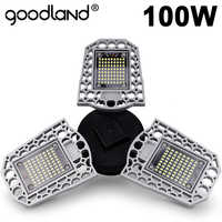 Goodland LED Lamp E27 LED Bulb 60W 80W 100W Garage Light 110V 220V Deform Light for Workshop Warehouse Factory Gym