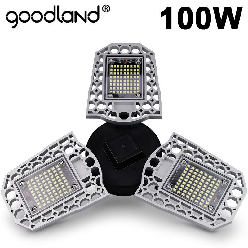 Goodland LED Lampe E27 Led-lampe 60W 80W 100W Garage Licht 110V 220V Verformen Smart licht Sensor für Werkstatt Lager Fabrik Gym