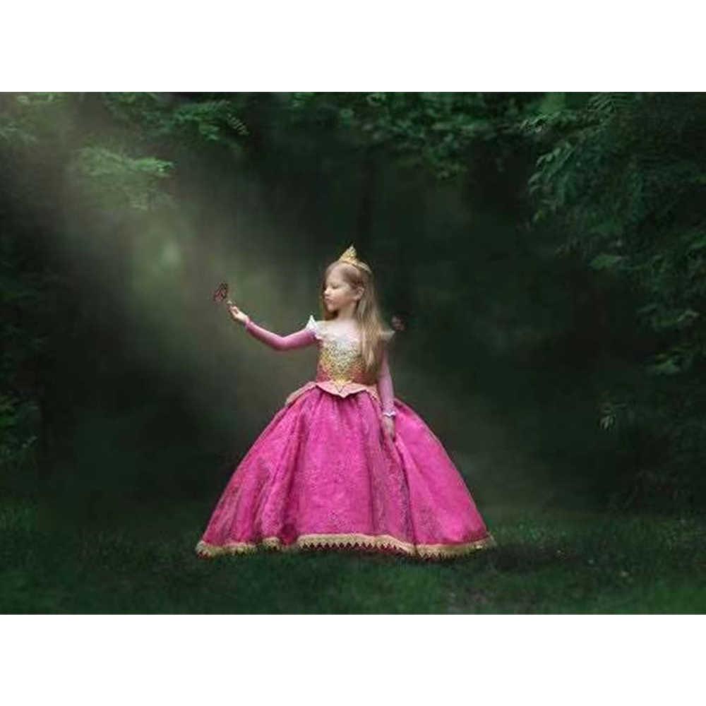 Noel cadılar bayramı kızlar Aurora elbise Bebe pembe dantel gelinlik uyku güzellik periler kostüm Fantasia Aurora Infantil