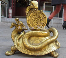 Chinese Royal Brass Copper Feng Shui Lucky Wealth Dragon Turtle Snake Statue(China)