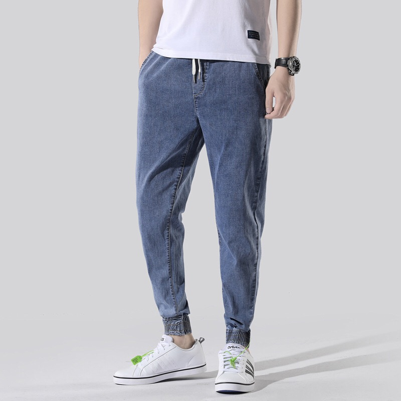 New Men's Fashion Jeans Plus Size 46 Jeans Elastic Waist Trousers Denim Pants Male Jeans Men