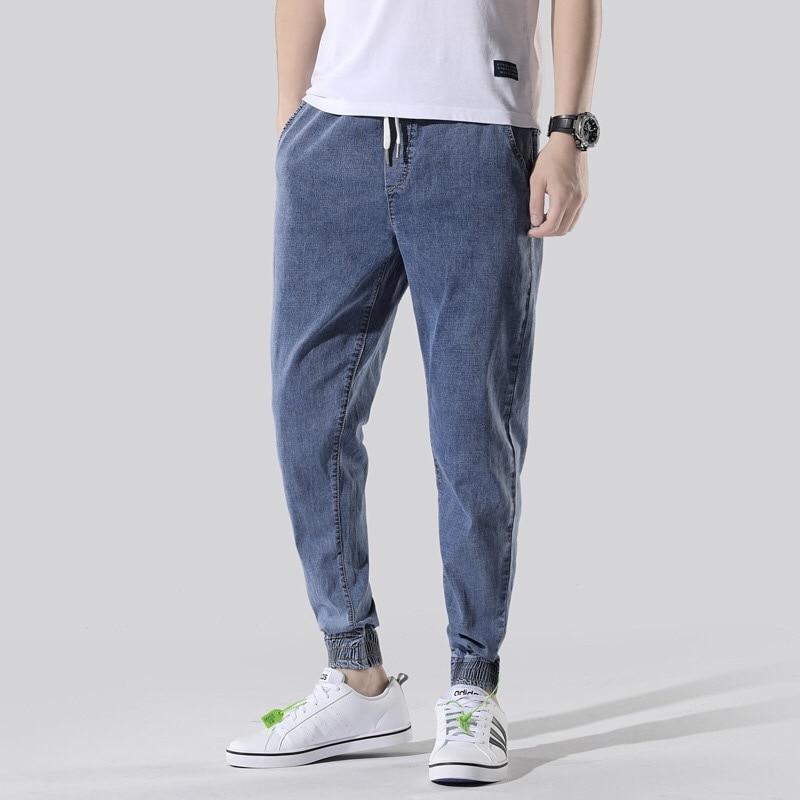 New Men's Fashion Jeans Plus Size 46 Jeans Elastic Waist Trousers Denim Pants Male Jeans Men