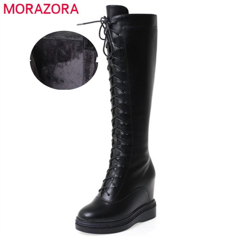 MORAZORA 2020 fashion winter shoes women knee high boots genuine leather +pu comfortable wedges platform boots woman big size 40