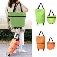 Trolley Cart Foldable Pouch Bag Luggage Wheels-Basket Market-Bag Eco Non-Woven Large