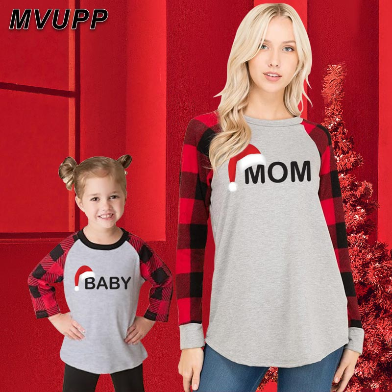 Christmas Mother Daughter Son Family Look Long T Shirt Mommy And Me Matching Outfits Plaid Mum Baby Girl Boy Pajamas Clothes Mom