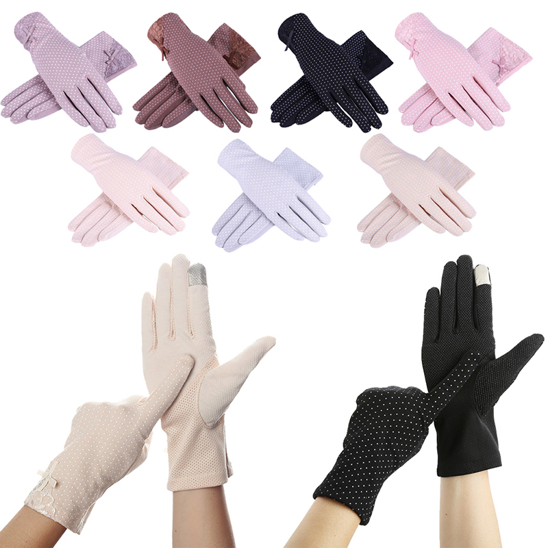 New Fahion Cotton gloves Non-slip Breathable Ladies Gloves Spot Summer Thin UV Protection Sun Gloves driving gloves