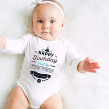 Baby Happy-Birthday Romper Long-Sleeve Newborn Infant Baby-Boy-Girl Cotton Dad Letter