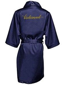 Image 4 - חיל הים כחול חלוק זהב כתיבת קימונו סאטן robe שושבינה אחות של הכלה גלימות חתונה מתנה הטובה ביותר זרוק חינם