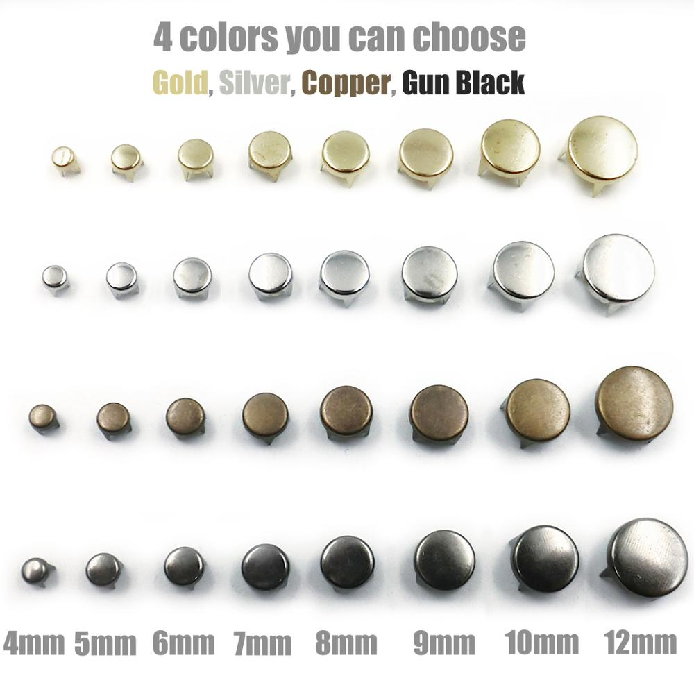 100pcs 4-12mm 4 Claw Flat Spike Rivets Studs Spots Nailhead Punk Rock DIY Leather Craft For Clothing Bag Shoes Parts Decoration
