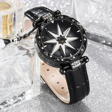 Rhinestone Luxury Unique Lady Flower Round Dial Faux Leather Strap Analog Quartz Watch Gift zegarek damski For Women