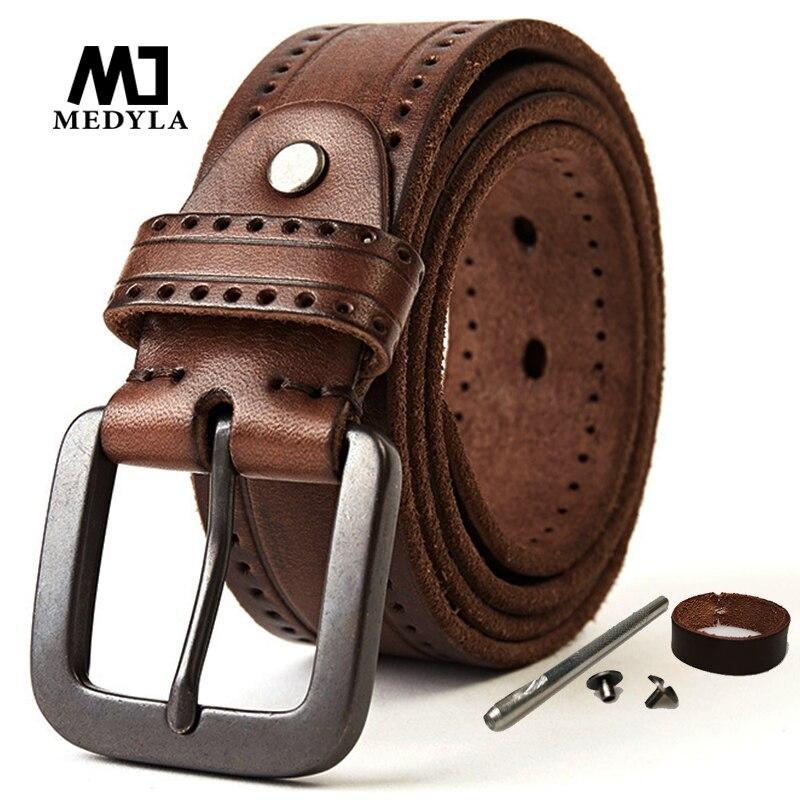 MEDYLA Natural Leather Belt Men's Hard Metal Matte Buckle Men's Original Leather Belt 100-150cm Jeans Belt Screw Accessories