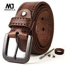 MEDYLA Natural Leather Belt Mens Hard Metal Matte Buckle Mens Original Leather Belt 100 150cm Jeans Belt Screw Accessories