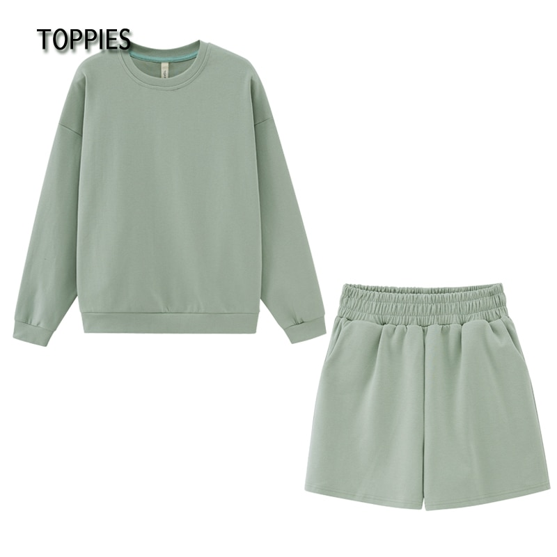 Toppies 2021 Summer Shorts Set Woman Tracksuits Oversize Sweatshirts High Waist Shorts Female Two Piece Set