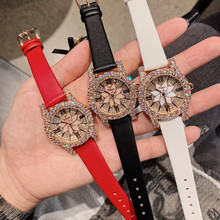 Brand Leather Strap Watches for Women Luxury Full Crystals Dress
