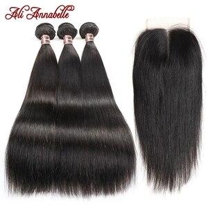 Image 3 - ストレートヘアの束でマレーシアの髪3バンドルと閉鎖4 × 4のレースの閉鎖とバンドルアリアナベル髪