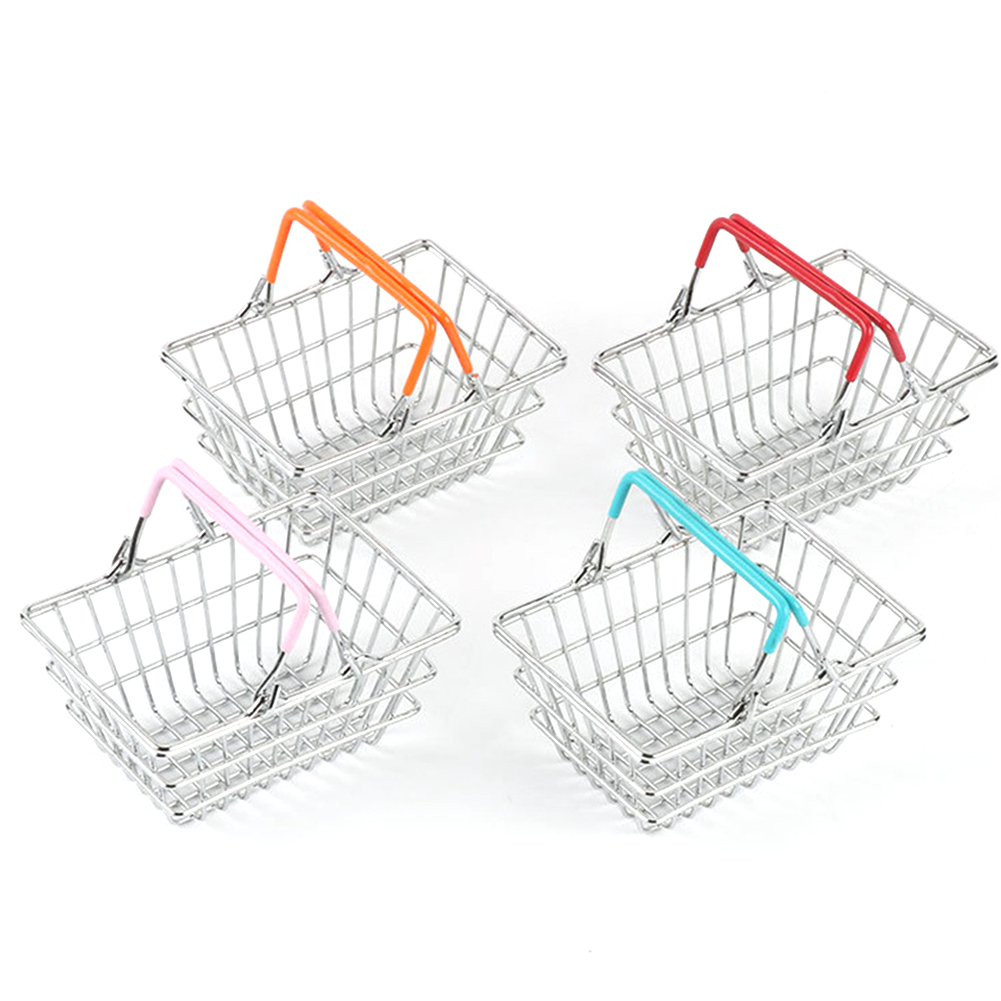 Children Miniature Metal Supermarket Shopping Basket Pretend Role Play Toy Gift Desktop Decor Torage Toy Furniture Accessories
