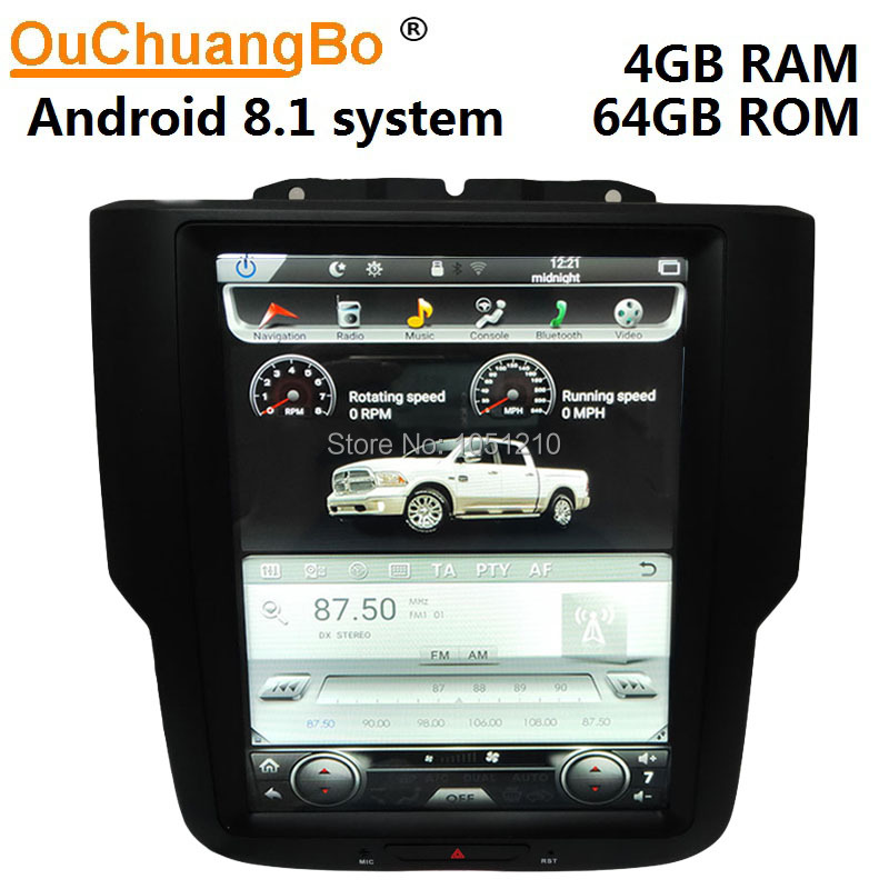 Ouchuangbo <font><b>car</b></font> <font><b>audio</b></font> radio gps for RAM 1500 2500 3500 tesla style 10.4 inch <font><b>android</b></font> 8.1 PX6 multimedia 4GB RAM 64GB ROM image