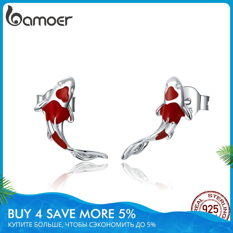 bamoer Fish Red Enamel Stud Earrings for Women 925 Sterling Silver Spring Koi Ear Studs Festival Silver Fashion Jewelry SCE812(China)