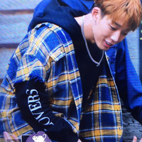 Ikon Gold zhi yuan Bobby Celebrity Style Korean style Loose Fit plus Velvet Spring And Autumn Students Couples Hoodie Women's Lo